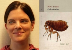 A photo of Neva Lukic juxtaposed with the cover to her book Endless Endings