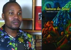 A photo of Rudêncio Morais juxtaposed with the cover to his book Suturas do Amor