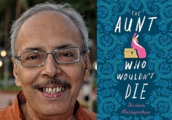 A photo of Shirshendu Mukhopadhyay juxtaposed with the cover to his book The Aunt Who Wouldn't Die