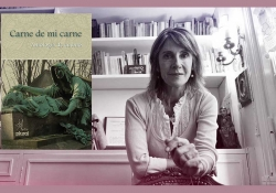 The cover to Carne de mi carne: Antología de cuento overlaid on a photo of editor María Negroni
