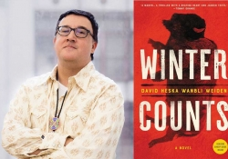 A photograph of David Weiden juxtaposed with the cover to his book Winter Counts