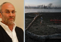 A photographer of photographer John Willis juxtaposed with the cover to his book Mni Wiconi