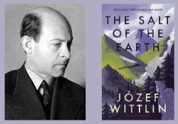 A black and white photograph of Józef Wittlin juxtaposed with the cover of his book Salt of the Earth