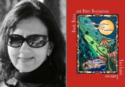 A photograph of Tara Isabel Zambrano juxtaposed with the cover to her book Death, Desire, and Other Destinations
