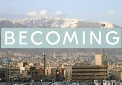 A photograph of the Tehran city skyline with the logo of Michelle Obama's book Becoming hovering just above the buildings