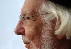 A close cropped photograph of the poet Ernesto Cardenal