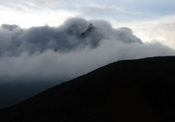 A cloud-capped mountain