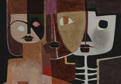 A painting of three human figures overlapping atop one another