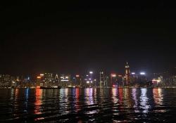 The Hong Kong city skyline at night