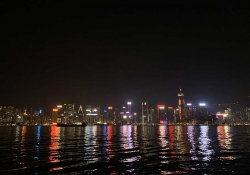The Hong Kong city skyline at night