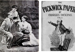 Dickens reading to his daughters. Right: Pickwick Papers cover