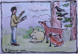 A crayon drawing of a human being reading to forest animals