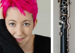 A photo of Marie Ross juxtaposed with a photograph of a clarinet