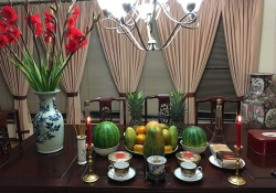 An ornately set table for the Vietnamese Lunar New Year