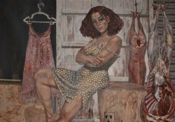 A painting of a woman in a sundress, reclining on a butcher block as a dress and freshly dressed meat hangs in the background