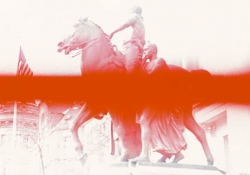 An image of a figure astride a horse. There is a saturated red field running horizontally down the center