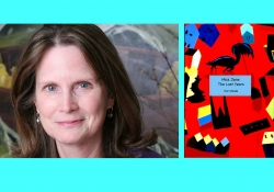 A photo of author Kat Meads juxtaposed with the cover to her book Miss Jane