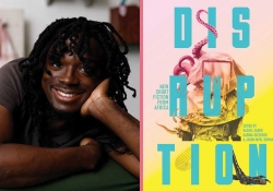 A photograph of Edwin Okolo juxtaposed with the cover to the book Disruption