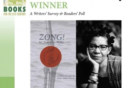 A photograph of M. NourbeSe Philip juxtaposed with the cover to their book Zong! set inside the WLT 21 Books of the 21st Century logo dress