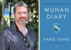 A photograph of translator Michael Berry juxtaposed with the cover to Fang Fang's Wuhan Diary