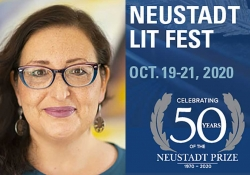 A photo of NSK juror Monica Brown juxtaposed with the logo for the 50th anniversary Neustadt Lit Fest