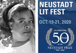 A photograph of NSK juror Tanita Davis juxtaposed with the graphic logo for the 2020 Neustadt Lit Festival
