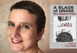 A photo of Naomi Foyle juxtaposed with the cover to A Blade of Grass
