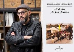 A photo of Miguel Ángel Hernández juxtaposed with the color to his book El dolor de los demas