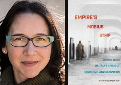 A photo of Stephanie Malia Hom juxtaposed with the cover of her book Empire's Mobius Strip