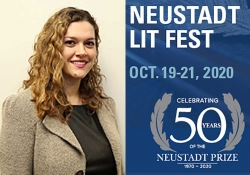 A photograph of Ani Kokobobo juxtaposed with the logo for the 50th anniversary Neustadt Lit Fest