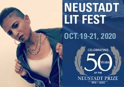 A photograph of Sonia Patel juxtaposed with the logo for the 2020 Neustadt Lit Fest