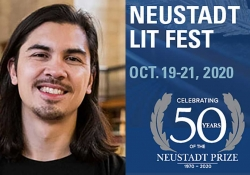 A photograph of NSK Juror Randy Ribay juxtaposed against the logo for the 2020 Neustadt Lit Fest