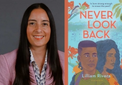 A photograph of Lilliam Rivera juxtaposed with the cover to her book Never Look Back
