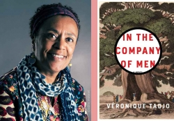 A photo of Véronique Tadjo juxtaposed with the cover to her book, In the Company of Men