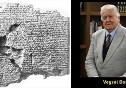A photograph of the Kadesh peace treaty juxtaposed with a photo of Veysel Donbaz
