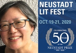 A photograph of author Janet Wong juxtaposed with the logo for the 50th Anniversary Neustadt Lit Fest logo