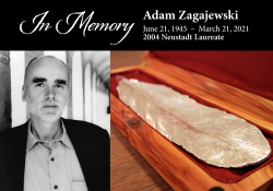 A photograph of Adam Zagajewski juxtaposed with an image of a pewter feather in a wooden box. The text above reads: In Memory, Adam Zagajewski, 2004 Neustadt Laureate