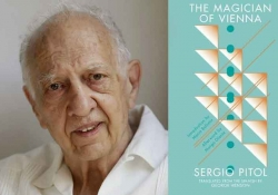 A photo of Sergio Pitol juxtaposed with the cover to his book The Magician of Vienna