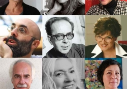 The nine finalists for the 2020 Neustadt International Prize for Literature, arranged in a nine panel grid
