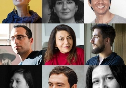 A nine-panel grid of the jurors selected for the 2020 Neustadt Prize