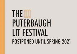 Text reads: The Puterbaugh Lit Festival Postponed until Spring 2021