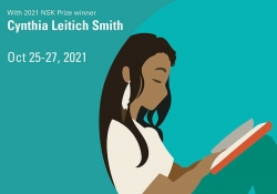 A detail from the prize-winning poster design. Text reads: With 2021 NSK Prize Winnert Cynthia Leitich Smith, Oct. 25-27, 2021