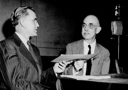 George Lynn Cross (left) interviewing Roy Temple House