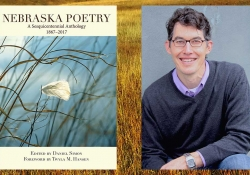 The cover to Nebraska Poetry juxtaposed with a photo of editor Daniel Simon