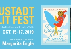 Text reads: Neustadt Lit Fest. Celebrating excellence and diversity in YA lit. Oct 15 through 19 2019 with 2019 NSK Prize winner Margarita Engle