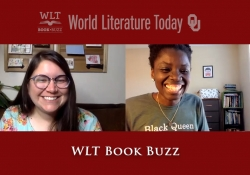 A snapshot of the third episode of Book Buzz with hosts Laura and Bunmi smiling