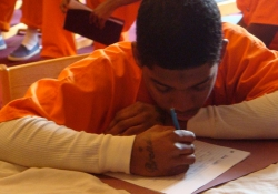 "The Free Minds book club and writing workshop at AWP empowered young inmates to ""write new chapters in their lives."" Said Nokomis, ""Free Minds encouraged me to be a better writer . . . to be a bigger person . . . to be unlimited."" / Courtesy of @awpwriter"