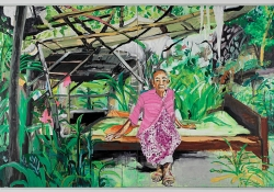An oil painting of an old woman sitting on a bed in a lean-to.