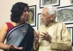 Dipika Mukherjee with her father, Kalidas Mukherjee