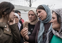 Nadia Murad speaking with a group of Yazidi women / Courtesy of Nadia's Initiative